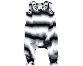 ON SALE | Navy Stripe Romper | Ready To Ship | Free Shipping | Boy Romper