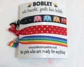 Pac Man, Rainbow, Hair elastic, bracelet bobble, hair band bracelet, boblet, yoga bands, party bag, bracelet, gym, girls hair, FOE hair ties
