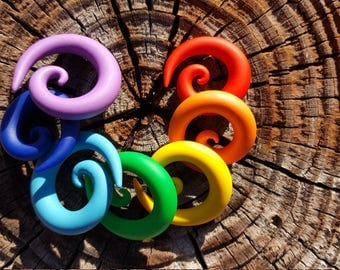 """TWO PAIRS Special Deal Choose Your Slice of Rainbow. Single Color Spirals. 6g 4g 2g 0g 00g 7/16"""" 1/2"""" 9/16"""" 5/8"""". Also in MM and Fake Plugs."""