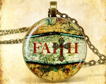 """FAITH Cross Word Art Pendant Necklace (Approx 1.5"""" diameter) with 24"""" Chain, Nickel Free"""