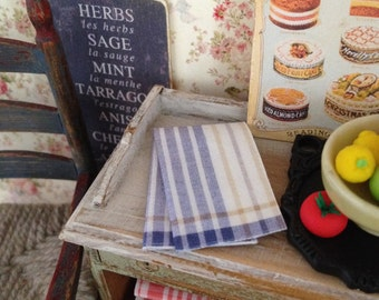 Traditional Style Blue Tea Towel for Dollhouse Miniature, 1:12 scale.