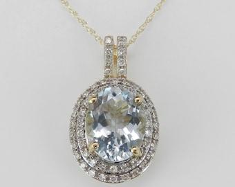 "2.85 ct Diamond and Aquamarine Halo Pendant Necklace 18"" Yellow Gold Chain Aqua"