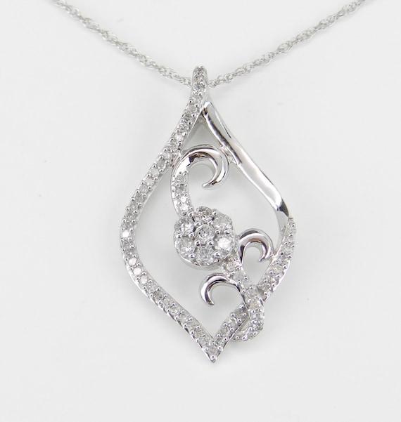 "Diamond Flower Pendant White Gold Wedding Cluster Necklace Chain 18"""