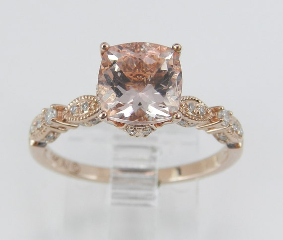 Morganite and Diamond Engagement Ring 14K Rose Gold Size 7 Cushion Cut