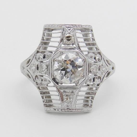 Antique Art Deco Platinum Diamond Engagement Ring Filigree Size 4.5 Circa 1920's