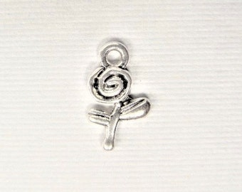 15mm, 15CT, Silver Toned Flower Charms, Y52