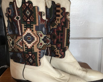 Vintage Cowboy Boots Western White Leather and Southwestern Textile Womens Sz 6