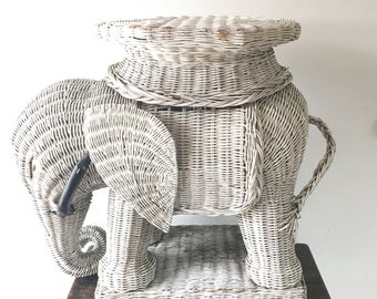 Vintage White Wicker Elephant Plant Stand, White Rattan Elephant Table