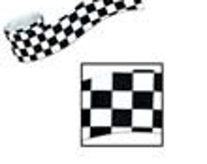 Black & White Checked Crepe Paper - Race Car Flag Look - Streamers - 30 foot roll