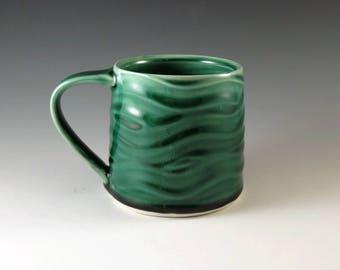 Emerald Green Pottery Mug - Handmade Ceramic Mug - Large Mug - Coffee Cup - Tea Cup - Tea Mug - Green Mug - Pottery and Ceramics - M221