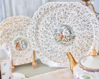 Vintage Dessert and Serving Plates Set of Four 22 KT Gold Trim Shabby Chic Dishes