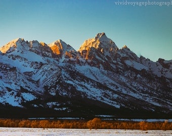 Grand Tetons Photo, Rustic Landscape, Mountain Photography, Grand Teton National Park, Sunset Photo, Rustic Wall Art, Wyoming Photograph
