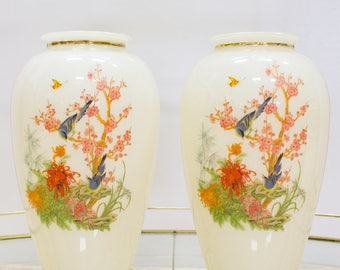 Pair of Chinoiserie Vases, Antique White,  Birds and Cherry Blossoms