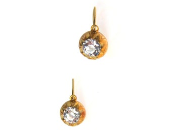 Art Deco Solitaire Earrings Day & Night| Gold Filled with Closed Back|Filled with 1920's Sparkle