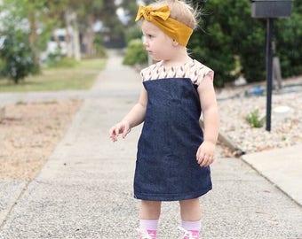 Girls Summer Dress in Denim