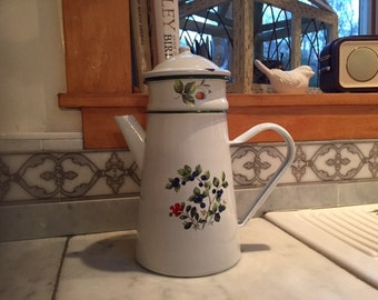 "Charming Vintage  French Enamel ""Biggin""Coffee Pot"