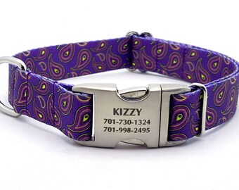 PURPLE PAISLEY Polyester Webbing Dog Collar with Laser Engraved Personalized Buckle