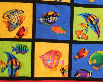 Baby Quilt, Beach House Decor, Tropical Fish Theme,  Lap Quilt, Wall Hanging, Blue, Lime green , Red, Yellow, Crib Blanket, Baby Shower Gift