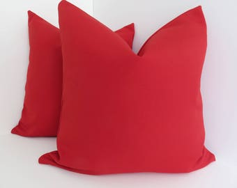 Outdoor/Indoor Pillow Covers  Solid Red Outdoor Pillow Covers  Red Outdoor  Pillow Covers