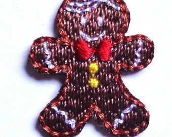 Gingerbread iron on patch 3/4 x 7/8 inch