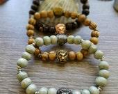 Judah Bracelet Set (Gold, rose gold, wood, lion bracelet set)