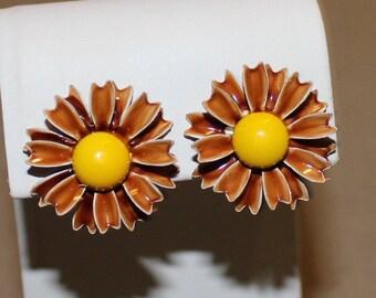 Vintage, Bright Brown and Yellow, Enamel Flower Earrings