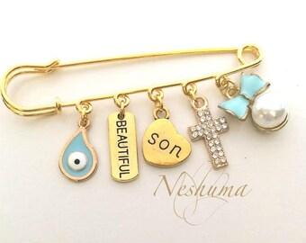 Newborn Baby Pin, Newborn Boy Gift, Baby Jewelry, Stroller Pin, Baby Pin, Baby Cross Pin, Baby Evil Eye, Baby Shower Gift, New Mom Gift