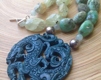 Statement carved jade necklace with chrysoprase and prehnite Frida Kahlo necklace advanced style necklace with blue dragon pendant Mexican