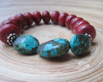 Red jasper and turquoise stretch mala bracelet with sterling silver accents // gemstone yoga bracelet