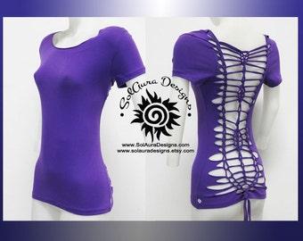 SENSUAL BEAUTY 1 - Juniors / Womens Cut and Weaved Beautiful Purple Top - Yoga Wear, Festival Wear, Club Wear, Beach Wear