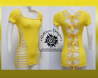 SUNSHINE - Juniors / Womens Cut Yellow Top - Yoga Wear, Festival Wear, Club Wear, Beach Wear