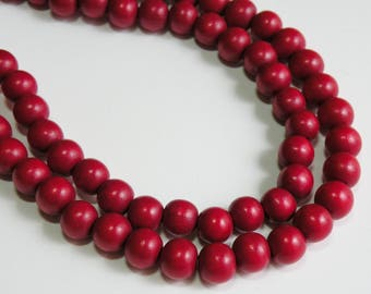Rich Ruby Red wood beads round 10mm full strand eco-friendly Cheesewood 1611NB