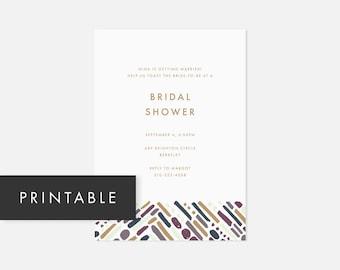 Simple Printable Invitations / Minimalist Modern Invite / Bold Pattern / Purple / Bridal Shower, Baby Shower, Engagement Party, Graduation