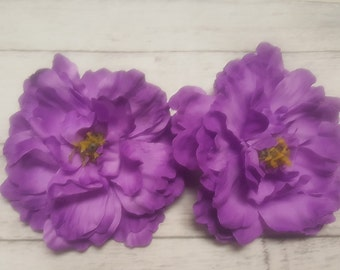 6 PURPLE Silk Peony heads - Artificial Flower - 6.5 inches - Wholesale Lot - for Wedding, Hair clips, Headbands, Hats