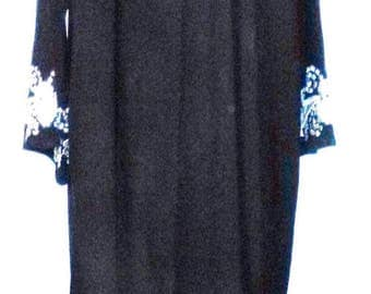 BIG CLEARANCE SALE 80s Classic Black Silky Jersey-Silver Embroidered Cuff-Boho Folk Hipster Hippie Caftan-Maxi Dress-Modest-Simple-Small-