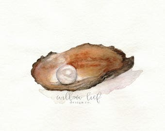Pearl / oyster Watercolor print / brown / Wall art / oyster watercolor/ beach art