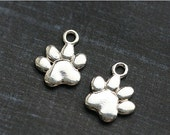 ON SALE Dog paw charm, Sterling silver pet paw charm, paw prints, 925 silver, for jewelry making - 1pc - 12mm - F360