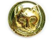 23mm Golden Cat Face Button, Czech Glass Handmade Button bead, Light Yellow Green, size 10, 1pc - 1574