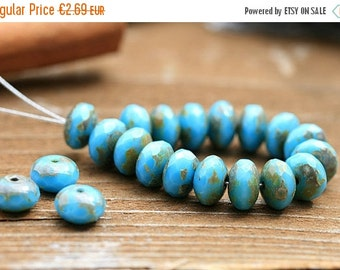ON SALE Picasso czech beads, Turquoise Blue glass beads - spacers, donut, gemstone cut - 4x7mm - 25pc - 1167