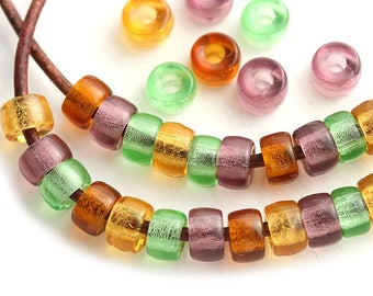 6mm Pony beads mix in Woodland colors Green, Amber Yellow, Brown Topaz, Purple Czech glass Roller beads, 2mm hole - 50pc - 0404