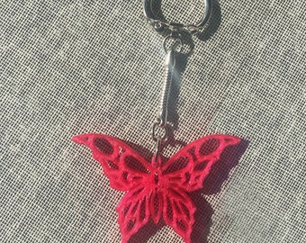 3D Printed Butterfly Keychain, Magenta Butterfly, FREE SHIPPING, Original Delukart Design.