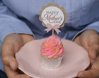 6 Happy Mother's Day Cupcake Toppers ~ Celebrate Mother's Day Sunday 14 May ~ Perfect for sellers of cupcakes