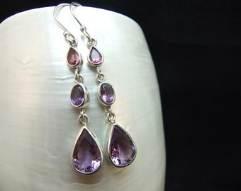 Pink Tourmaline & Amethyst Sterling Silver Earrings
