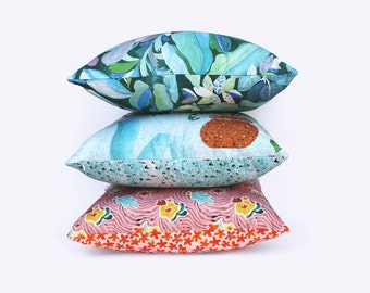 Flora Patchwork Floral Digitally Printed Cotton Linen Throw Cushion Cover