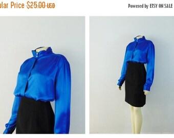 CLOTHING SALE Vintage Blouse Vintage Shirt Royal Blue Satiny High Neck Pearl Buttons Size 18 Modern S M L Xl