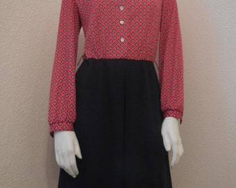 Vintage Route One Red and Black Patterned Secretary Dress