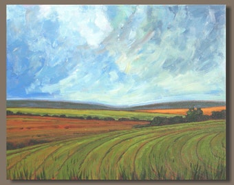 FREE SHIP abstract painting, farm fields painting, abstract landscape painting, folk art, green orange, prairie, 16x20 wall art on canvas