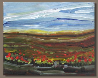 semi abstract painting, prairies, small painting, landscape painting, impressionist painting, gift, painting on canvas, gestural, east coast