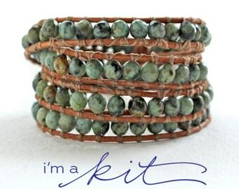 beaded bracelet kit, DIY leather wrap bracelet, african turquoise, crafty gift, gift for her, DIY bracelet supplies, wrap bracelet tutorial