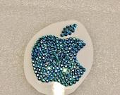 2.5 Inch Swarovski MAC Apple Sticker - Blue Zircon AB Aquamarine